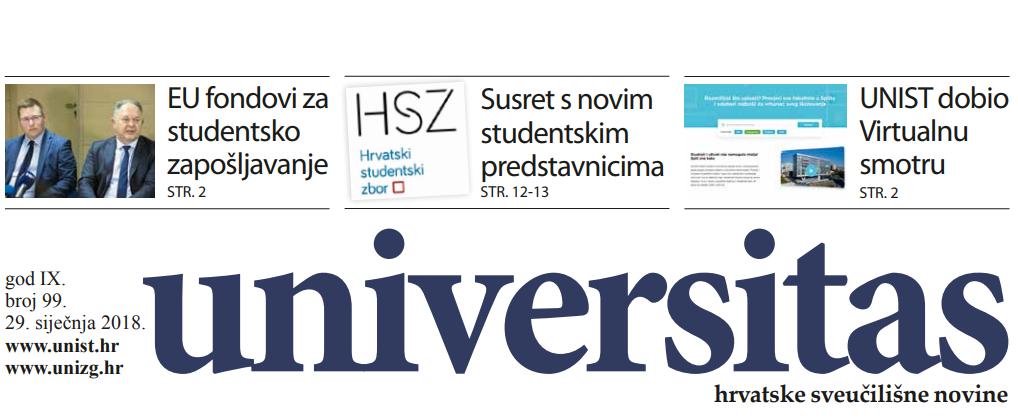 Sveučilišne novine Universitas br. 99 - siječanj/2018