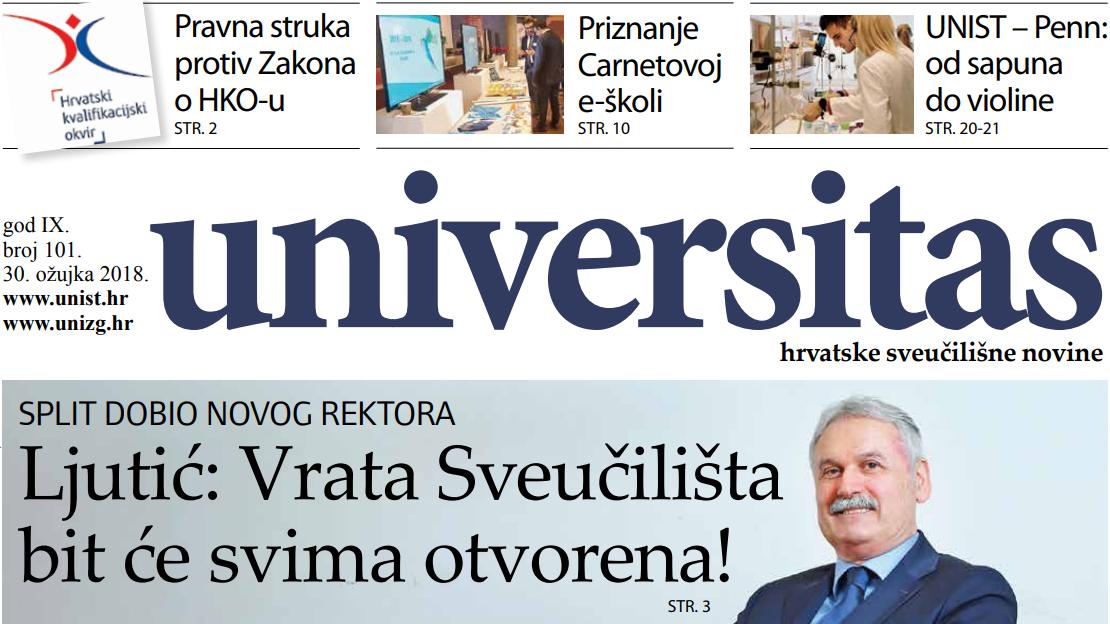 Sveučilišne novine Universitas br. 101 - ožujak/2018