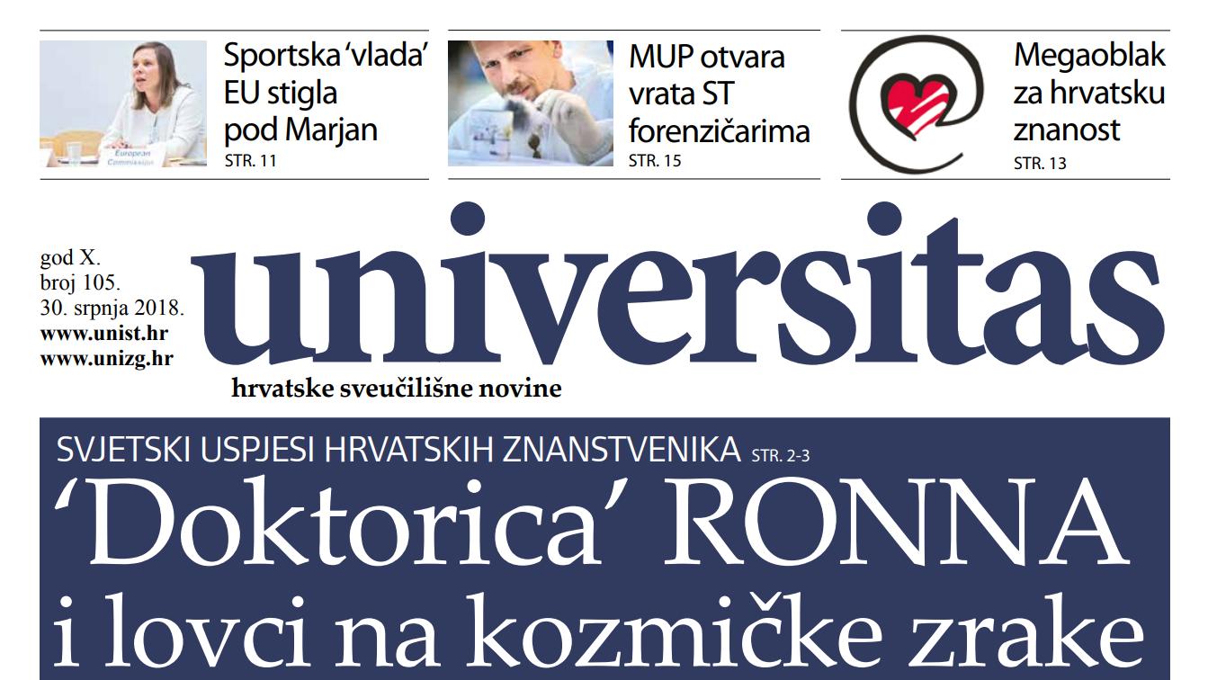 Sveučilišne novine Universitas br. 105 - srpanj/2018