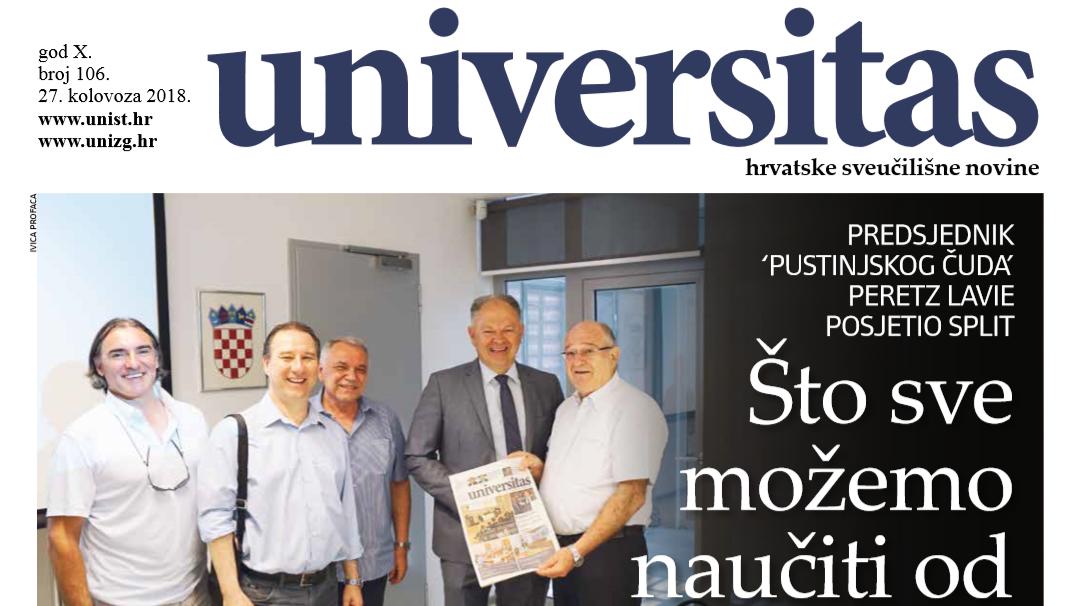 Sveučilišne novine Universitas br. 106 - kolovoz/2018