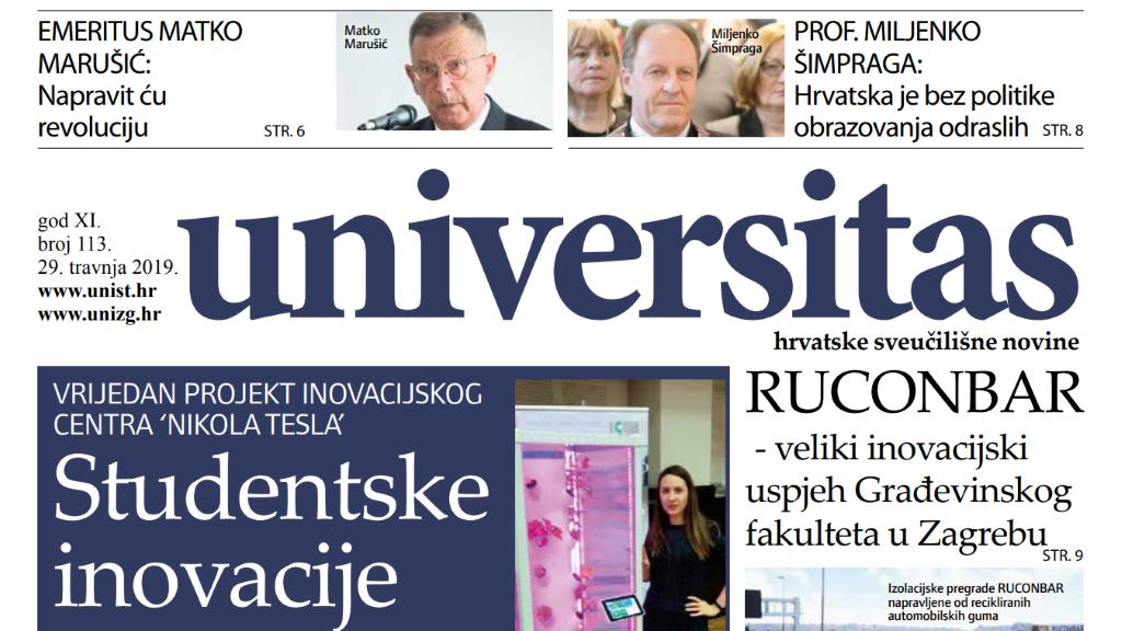 Sveučilišne novine Universitas br. 113 - travanj/2019