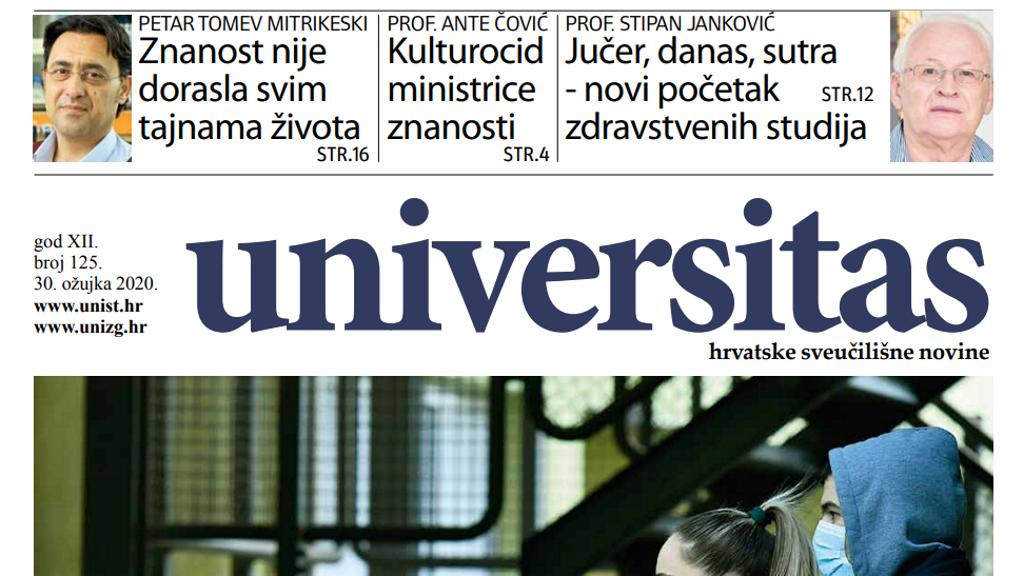 Sveučilišne novine Universitas br. 125 - ožujak 2020.