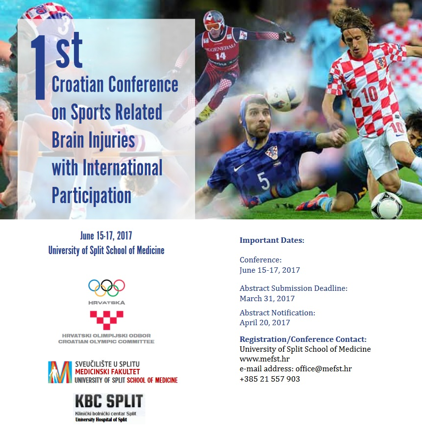 1st Croatian Conference on Sports Related Brain Injuries, June 15-17, 2017