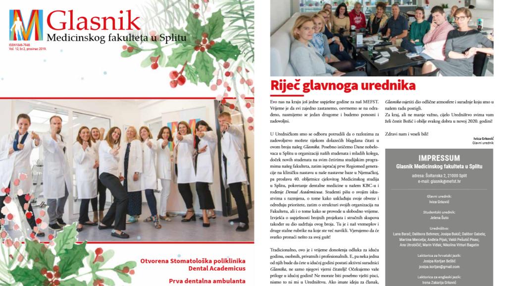 Novi broj Glasnika Medicinskog fakulteta u Splitu