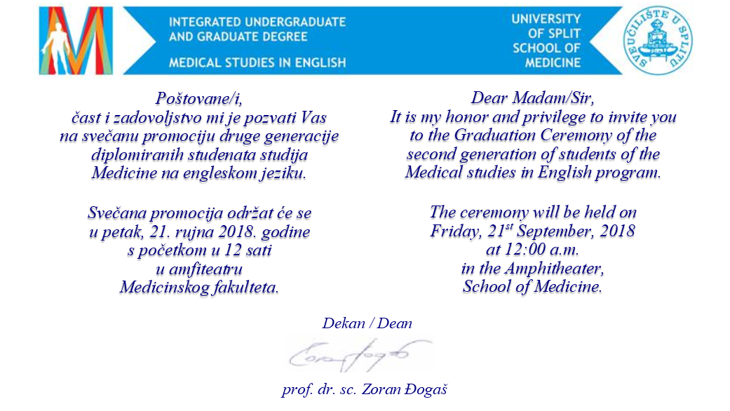 Graduation Ceremony - Medical studies in English program