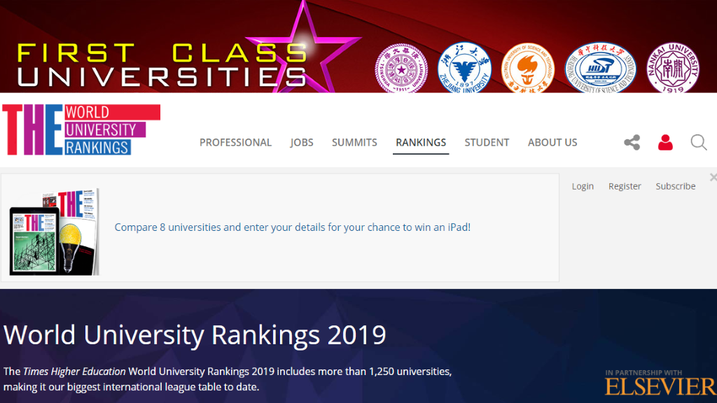 The Times Higher Education World University Rankings 2019