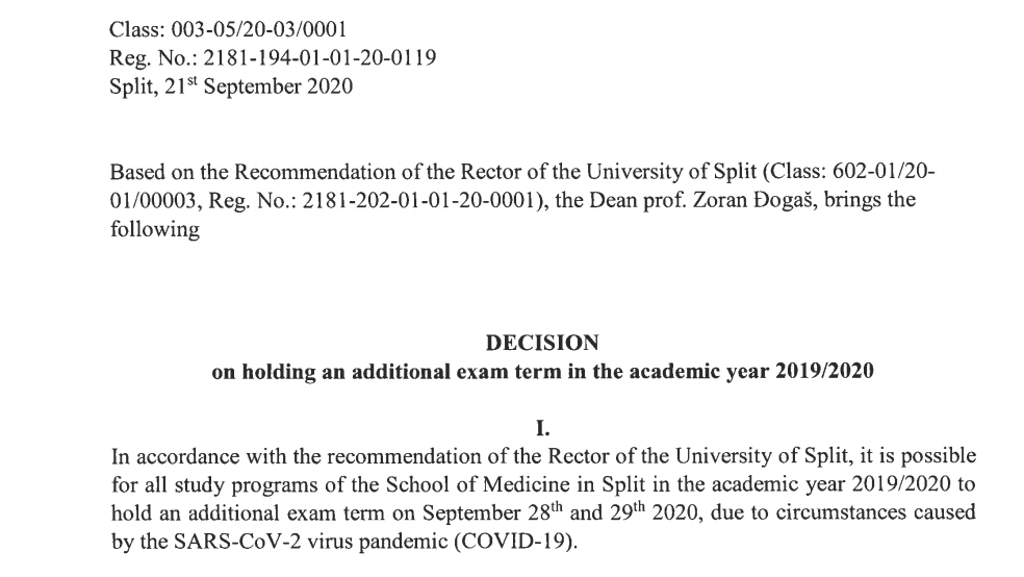 Decision on holding an additional exam term in the academic year 2019/2020
