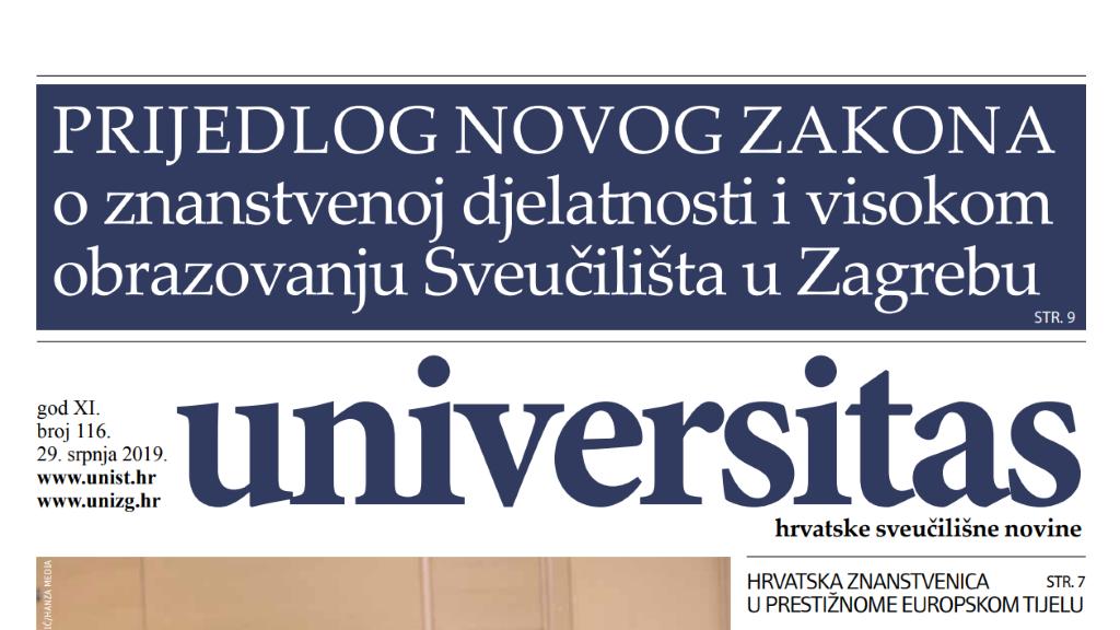 Sveučilišne novine Universitas br. 116 - srpanj/2019