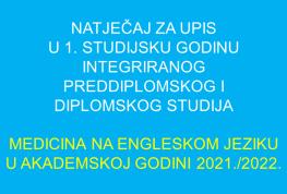 Natječaj za upis u 1. godinu Medicina na engleskom 2021./2022.